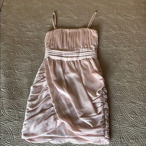 Pink Satin Ruched Cocktail Dress